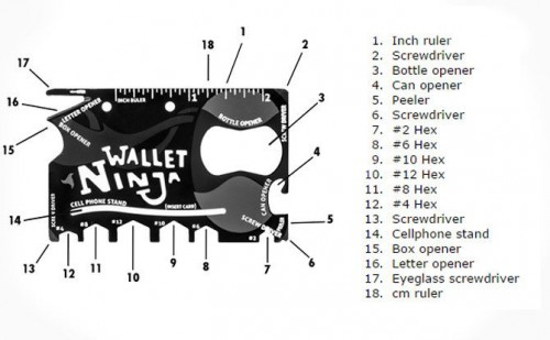 wallet ninja 18 in 1, ninja wallet, card wallet, multi tool, multi tools, multitools, multitool